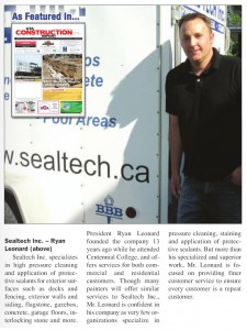We were also featured in the GTA Construction Report (Aug 2009). Click above for a larger picture.