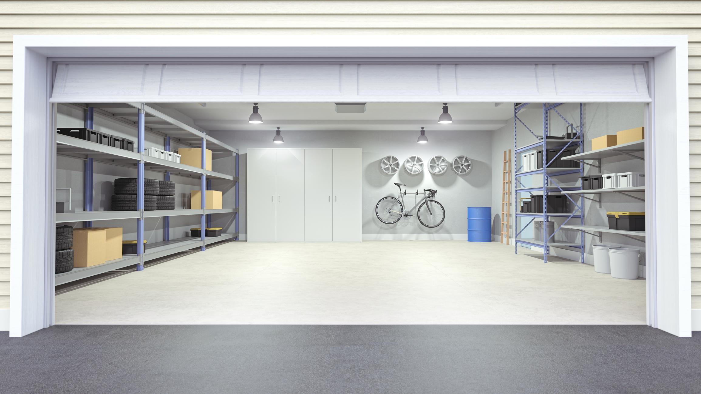 Epoxy coating in garage.