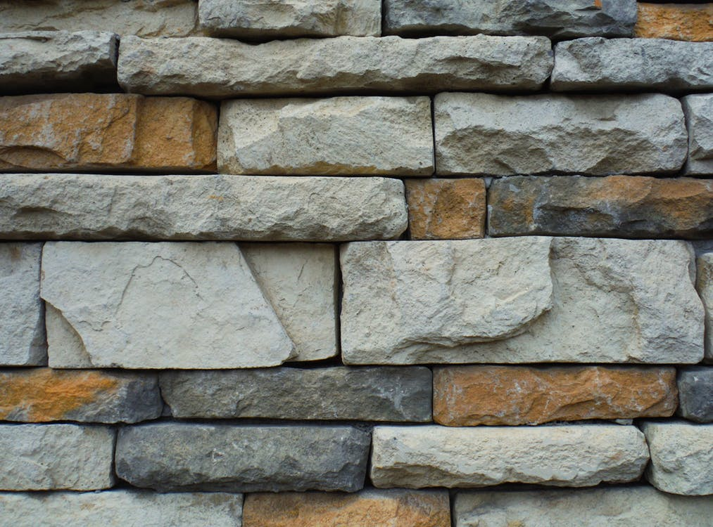 Natural stone and concrete.